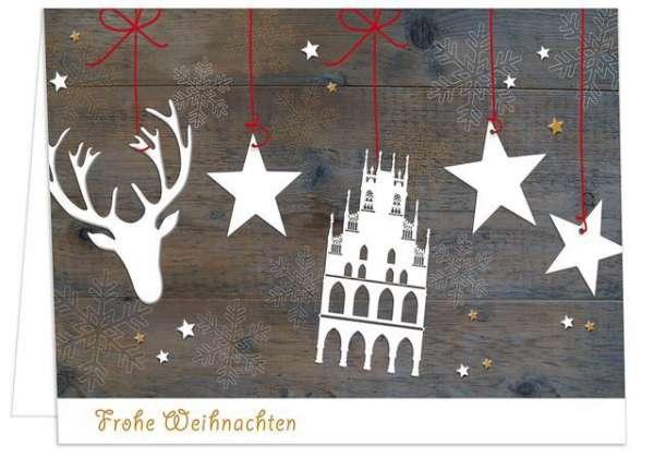 Klappkarte Rathaus und Hirsch auf Holz - Frohe Weihnachten mmm