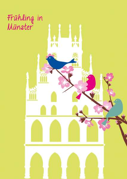 Postkarte - Rathaus und Zweig mmm