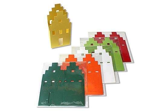 Briefkarte / Windlicht - Giebelhaus
