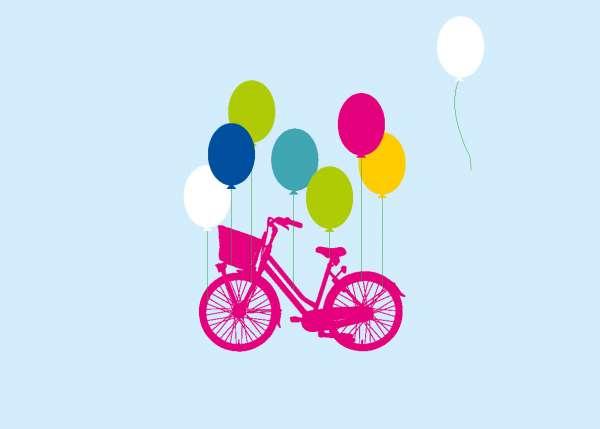 Postkarte - Ballons tragen Rad mmm