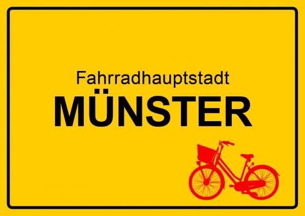 Postkarte mmm - Ortsschild Fahrradstadt