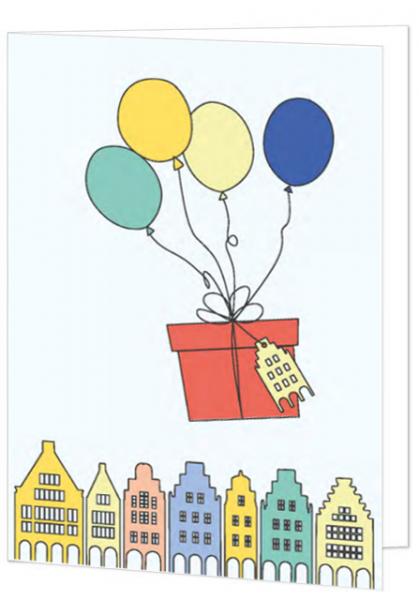 Klappkarte Geschenke mit Ballons mmm