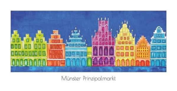 Klappkarte Prinzipalmarkt mit Rathaus dunkelblau - Bockstette