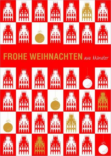 Postkarte Rathaus gekachelt Frohe Weihnachten mmm