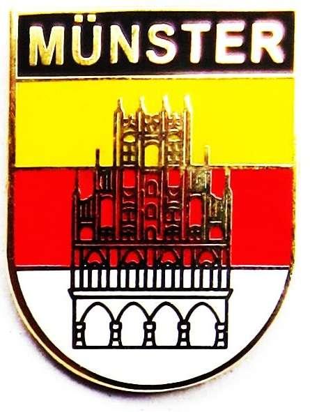 Ansteckpin - Münster Wappen mit Rathaus