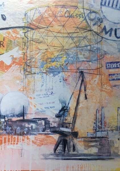 Postkarte klein Ottenjann - Kran orange