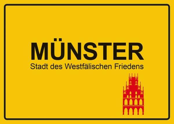 Postkarte - Münster Ortsschild Rathaus mmm