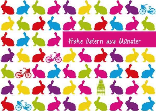 Postkarte mmm - bunte Hasen