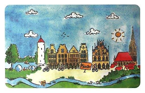 Frühstücksbrettchen - Illustration Münster