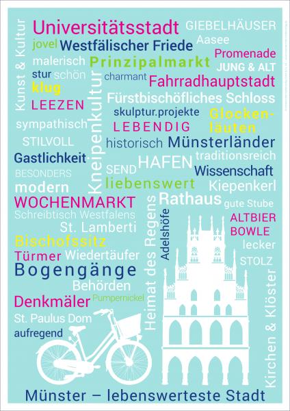 Poster Münster-Wörter blau mmm