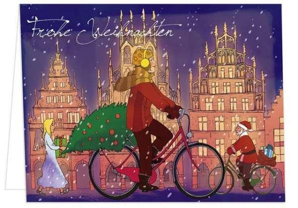 Klappkarte Radfahrerin Weihnachtsengel mmm