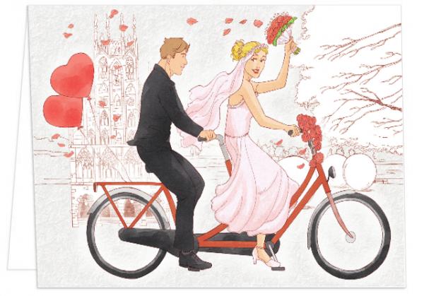 Klappkarte Brautpaar auf Fahrrad mmm