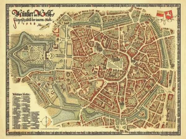 Fliegerschaubild der inneren Stadt Münster - Historische Karte1928