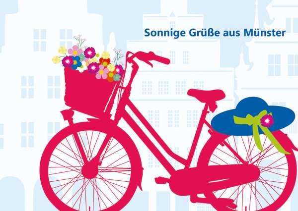 Postkarte - Fahrrad_Blumen mmm