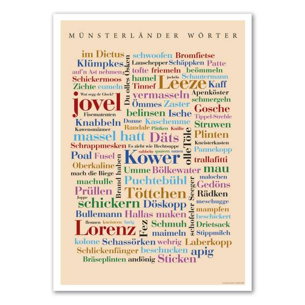 Poster Münsterländer Wörter groß Woll