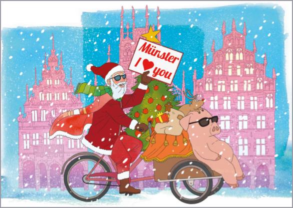Postkarte Radfahrer Weihnachtsschwein mmm