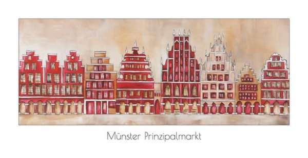Klappkarte Prinzipalmarkt mit Rathaus natur/rot - Bockstette
