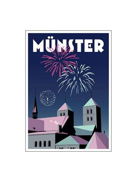 Postkarte Wentrup - Feuerwerk in Münster