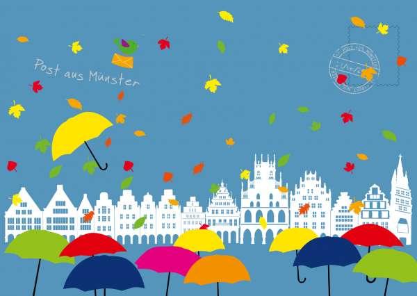 Postkarte - Giebelhäuser im Herbst mmm