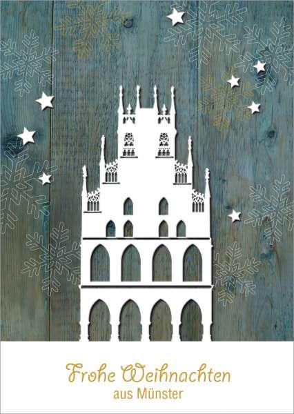 Postkarte Rathaus auf Holz mmm