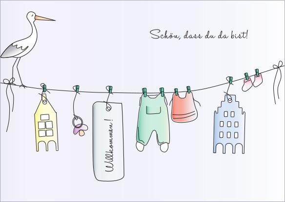 Postkarte - Grüße zur Geburt mmm