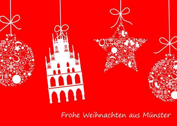 Postkarte Weihnachtskugeln und Rathaus mmm