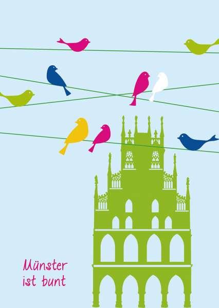 Postkarte mmm - grünes Rathaus mit Vögeln