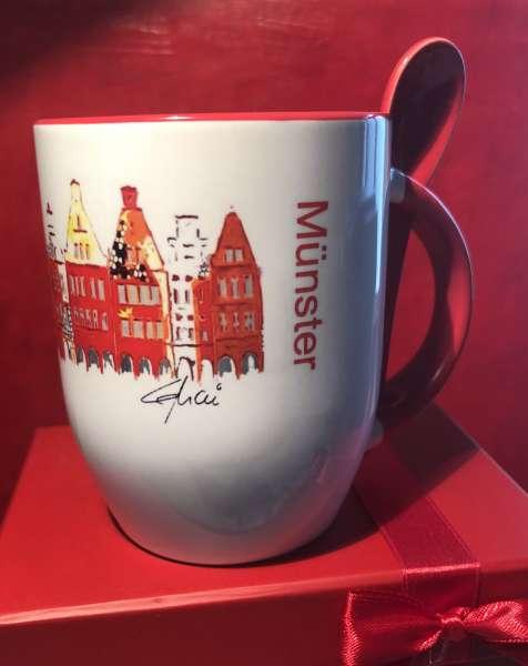 Kaffeetasse mit Löffel LEMAI - Prinzipalmarkt rot