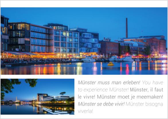 Postkarte Hafen zur Blauen Stunde mmm