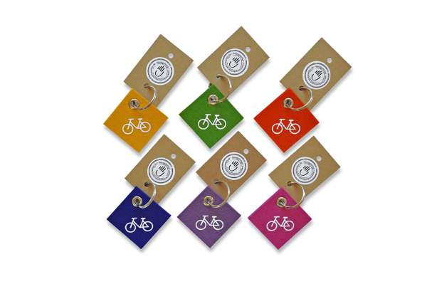 Filz-Schlüsselanhänger - quadratisch - Damenrad