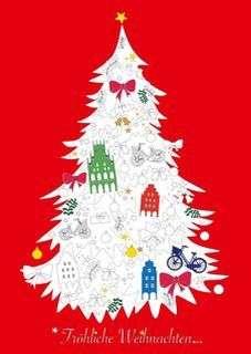 Postkarte Ausmalbaum Weihnachten mmm