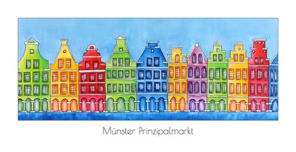 Klappkarte Prinzipalmarkt blau - Bockstette