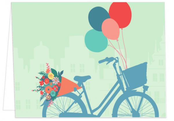 Klappkarte Fahrrad mit Ballons mmm