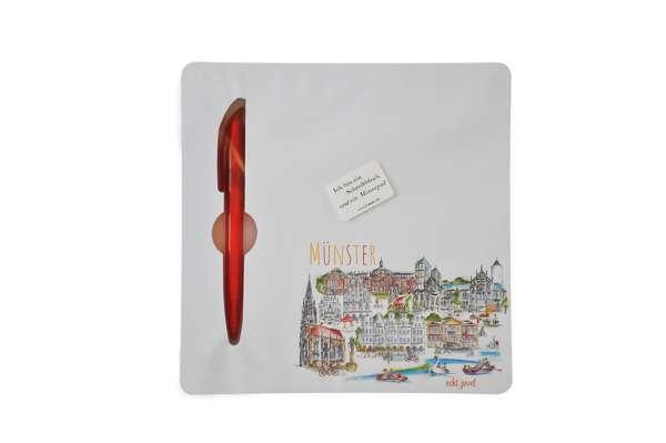 Mousepad und Notizblock mit Kugelschreiber
