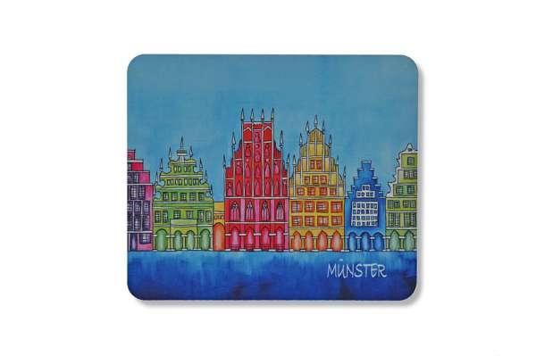 Mousepad - Münster Giebelhäuser Bockstette blau