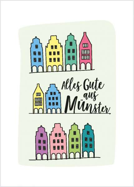 Postkarte - Linien Giebelhäuser mmm
