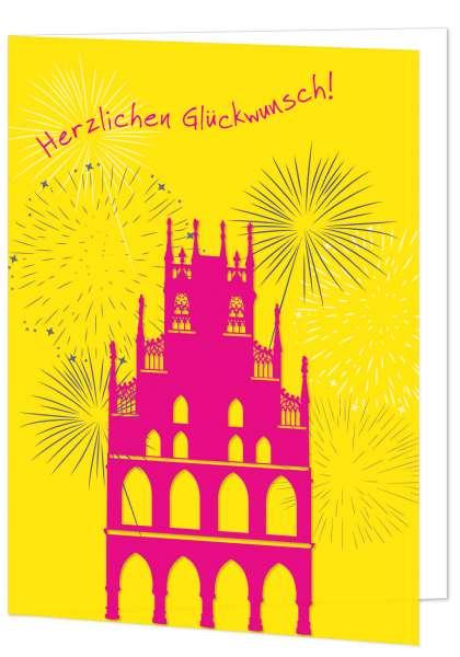 Klappkarte Rathaus Feuerwerk Herzlichen Glückwunsch mmm