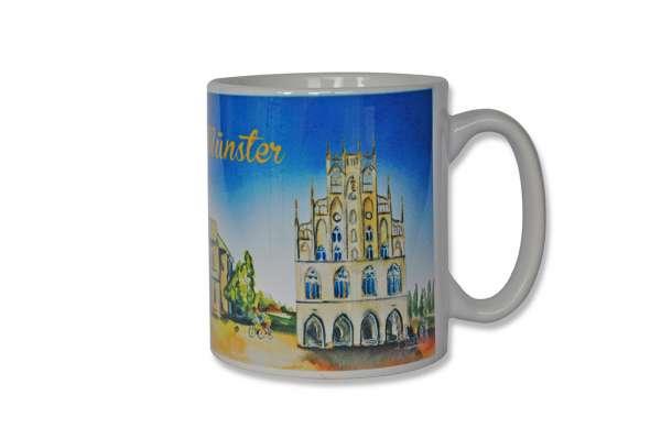 Tasse Decora - Aquarell Dom und Rathaus Münster