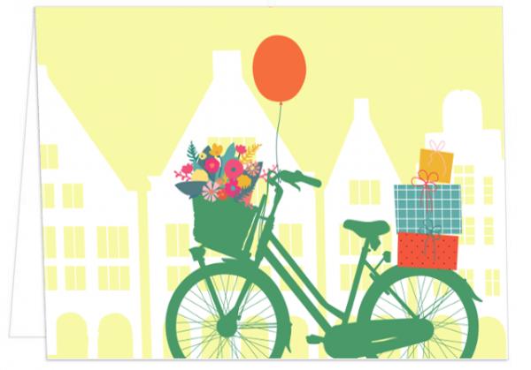 Klappkarte Giebelhäuser, Geschenke und Fahrrad mmm