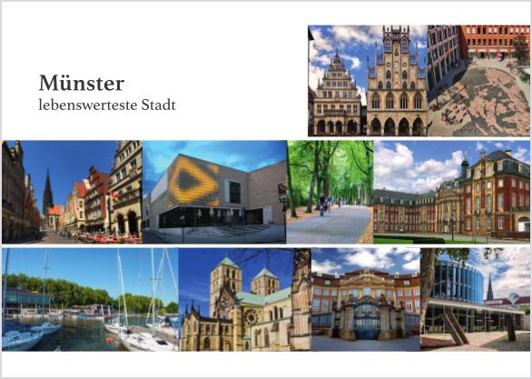 Postkarte Mitten in Münster - Stadt mmm