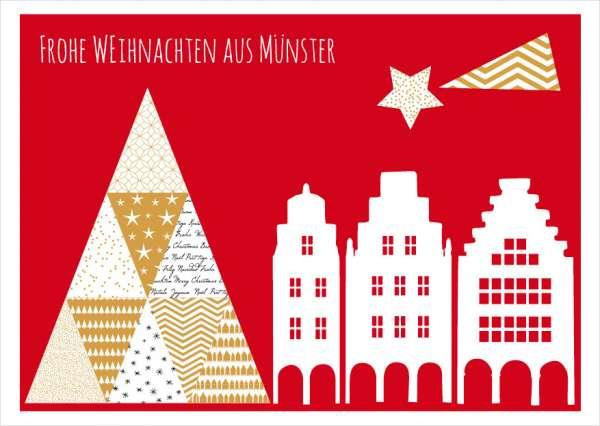 Postkarte Baum Lamberti Giebel Weihnachten mmm