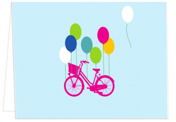 Klappkarte Ballons tragen Rad mmm