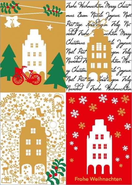 Postkarte Giebelhäuser vier Kacheln mmm