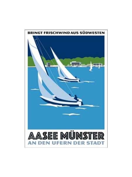 Postkarte Wentrup - Frischwind Segler auf dem Aasee
