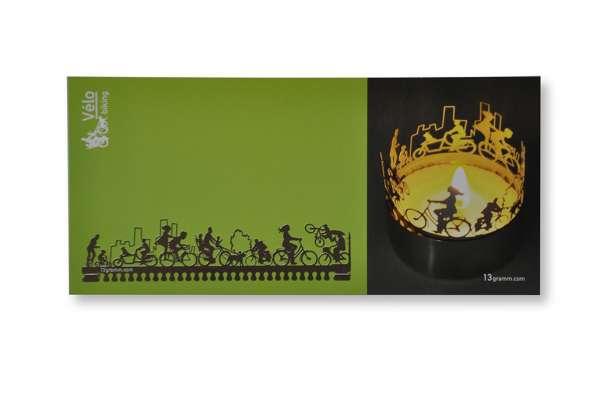 Fahrrad Windlicht Schattenspiel mit Grußkarte