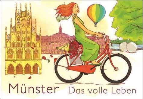 Postkarte - Radfahrerin mmm