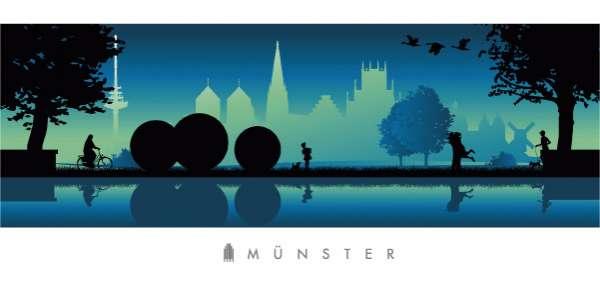 Panorama-Postkarte JHD - Aasee blau