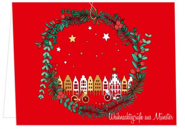 Klappkarte Weihnachtskranz - Weihnachtsgrüße aus Münster mmm