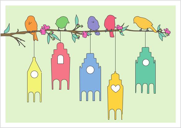 Postkarte - Vögel Zweig Giebelhäuschen mmm