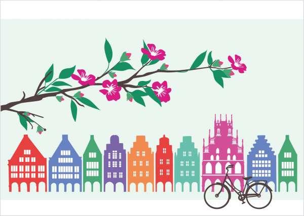 Postkarte - Giebelhäuser und Zweig mmm